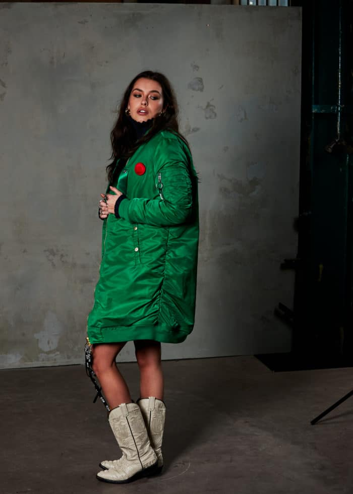 Toobi longline bomber jacket green once we were warriors