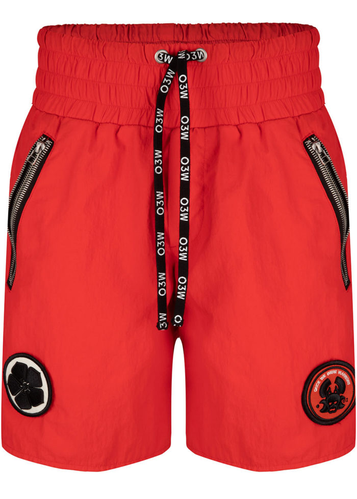 UKIYO WOVEN CRINCLE SHORTS FIERY RED O3W ONCE WE WERE WARRIORS